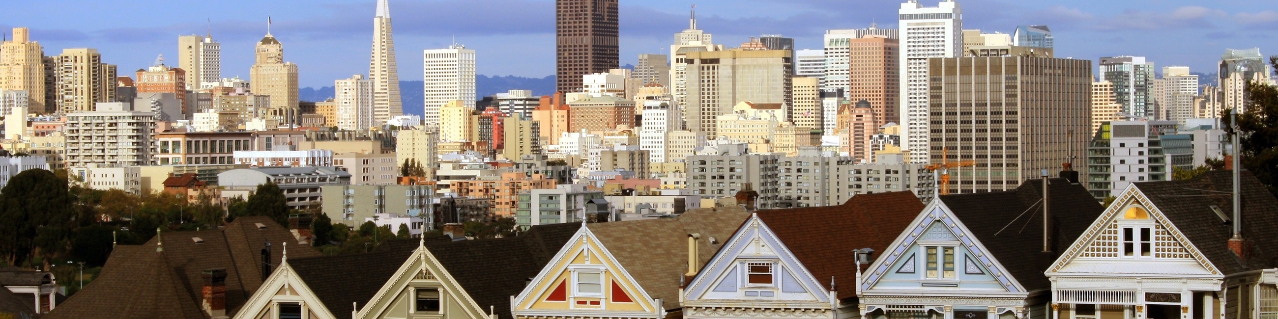 San francisco - painted ladies with the city behind