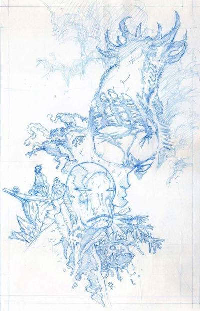 Max Fiumara's cover pencils for the Abe Sapien - Volume 7 collection
