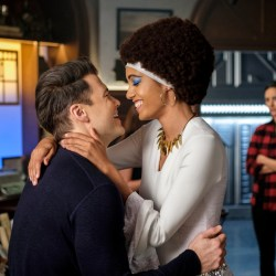 "DC's Legends of Tomorrow -- ""Here I Go Again"" -- Image Number: LGN311a_0063b .jpg -- Pictured (L-R): Nick Zano as Nate Heywood/Steel, Maisie Richardson- Sellers as Amaya Jiwe/Vixen and Tala Ashe as Zari -- Photo: Robert Falconer/The CW -- © 2018 The CW Network, LLC. All Rights Reserved."