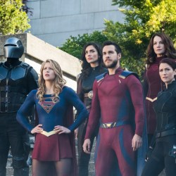 "Supergirl -- ""Battles Lost And Won"" -- Image Number: SPG323a_0112.jpg -- Pictured (L-R): Mehcad Brooks as Guardian, Melissa Benoist as Kara/Supergirl, Amy Jackson as Imra Ardeen/Saturn Girl, Chris Wood as Mon-El, Erica Durance as Alura Zor-El and Chyler Leigh as Alex -- Photo: Katie Yu/The CW -- © 2018 The CW Network, LLC. All Rights Reserved."