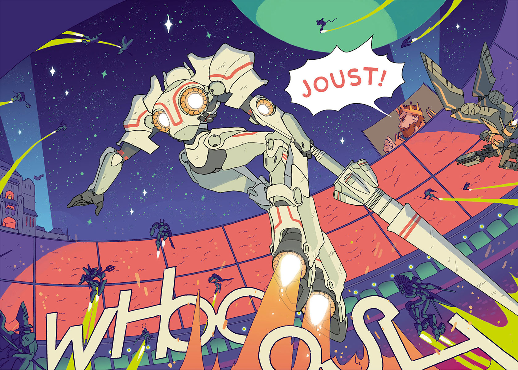 """This photograph shows an intergalactic joust in progress with a jouster in the foreground wearing predominantly white armor and sporting several jet boosters and a large lance surrounded by other jousters. The king is shown on screen in the background shouting """"JOUST"""" to begin the games."""