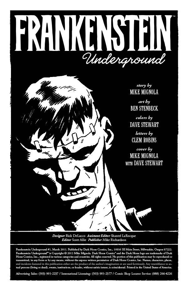 """""""Frankenstein Underground"""" #1 credits"""