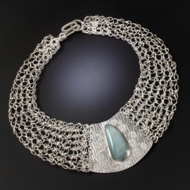 Knitted Sterling Silver Collar with Amazonite & Fused Silver