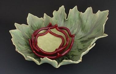 Leaf Platter with Blossom Bowls