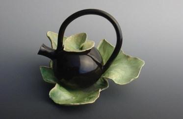 Teapot on Squash Leaf Plate