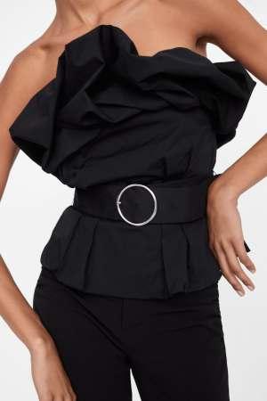 Zara belted volume ruffle top