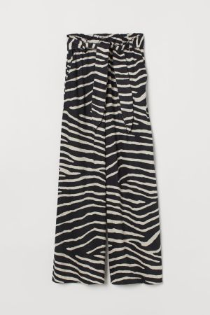 Zebra print wide leg trousers