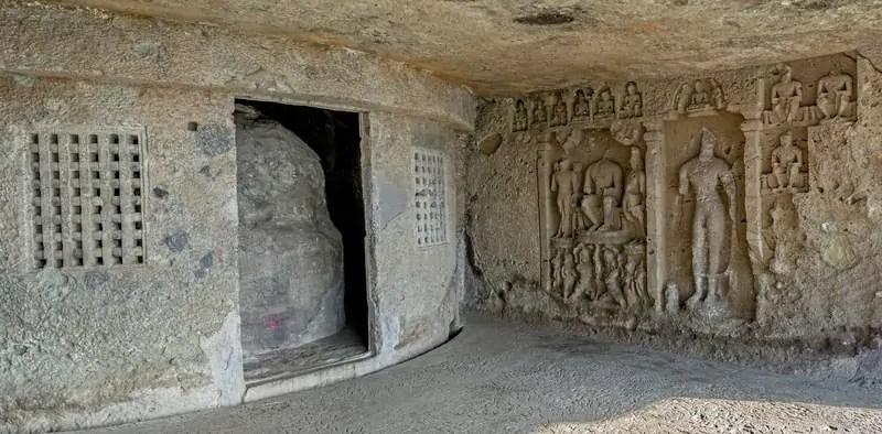 Stupa and buddha statue Kondivite, or Mahakali Caves