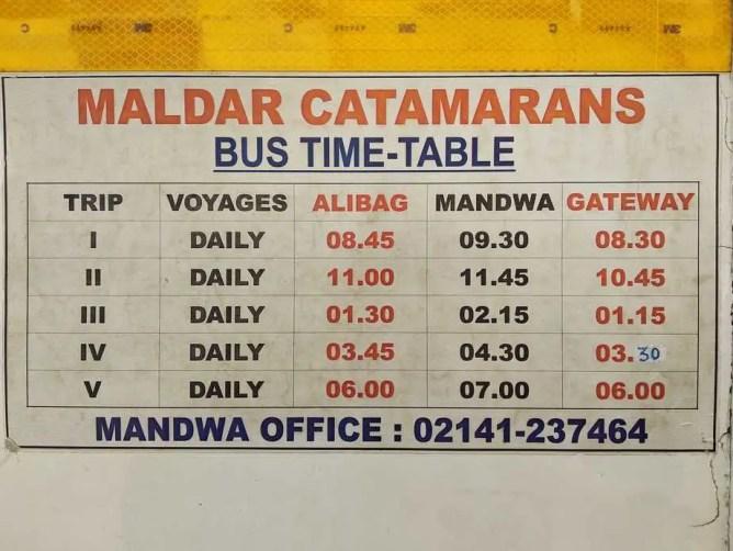 Maldar Catamaran bus timing from Alibaug, Mandwa, and Gateway