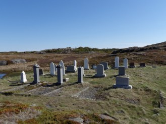 This is cemetery on Change Islands in Newfoundland. The people were buried so close to the ocean. There were even indentations where it looks like those buried closest to the water were relocated so they wouldn't be swept away.