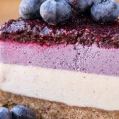 Vegan No-Bake Layered Blueberry Cheesecake