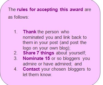 The rules for the One Lovely Blog Awards