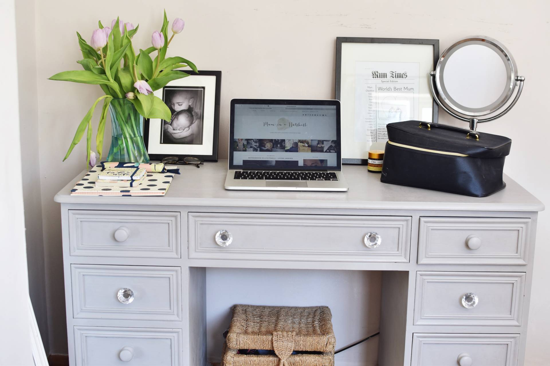 Creating a multi use workspace in a bedroom with beautiful stationary from Busy B and simple styling techniques on my up cycled dressing table / desk