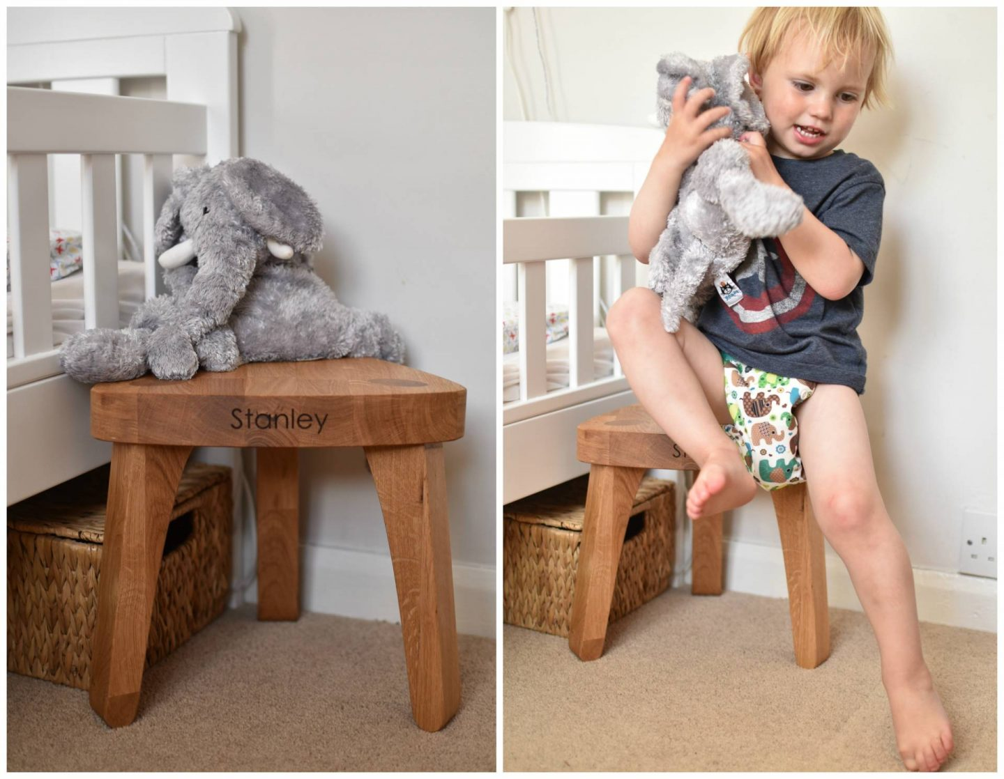 A gorgeous solid oak personalised oak stool from Clean Cut Wood