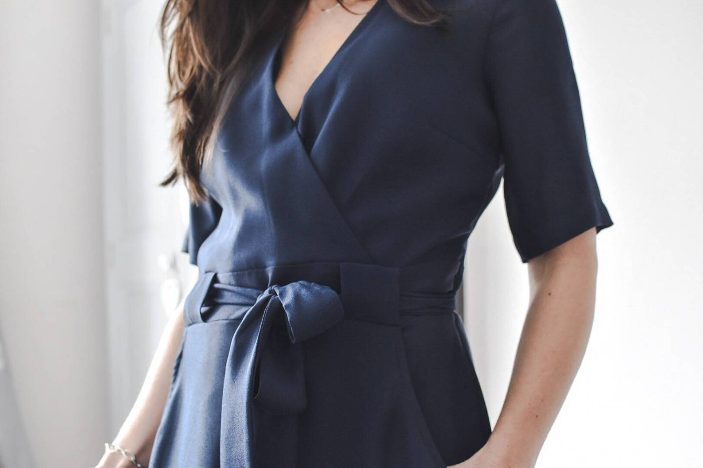 My top picks from the current collection at River Island this season is this classy navy wrap dress