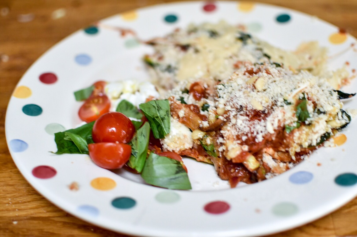 Courgette Parmigiana with Insalata Caprese