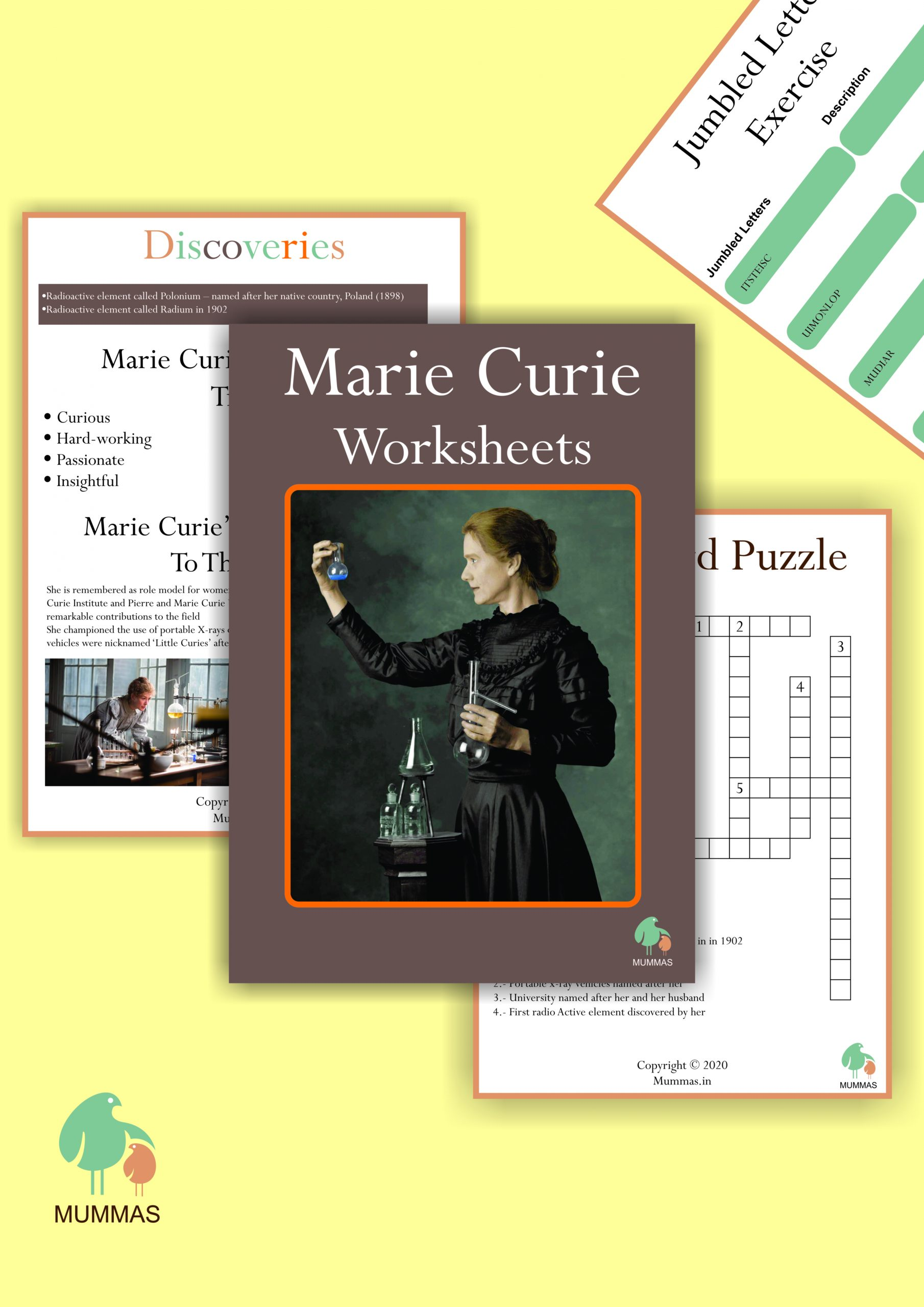 Marie Curie Work Sheet For Kids 8 Years