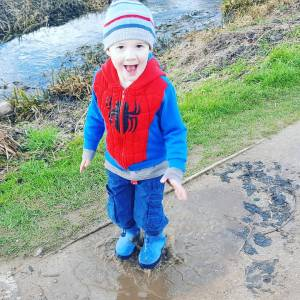 Someone enjoyed the muddy puddles on our afternoon stroll Wehellip