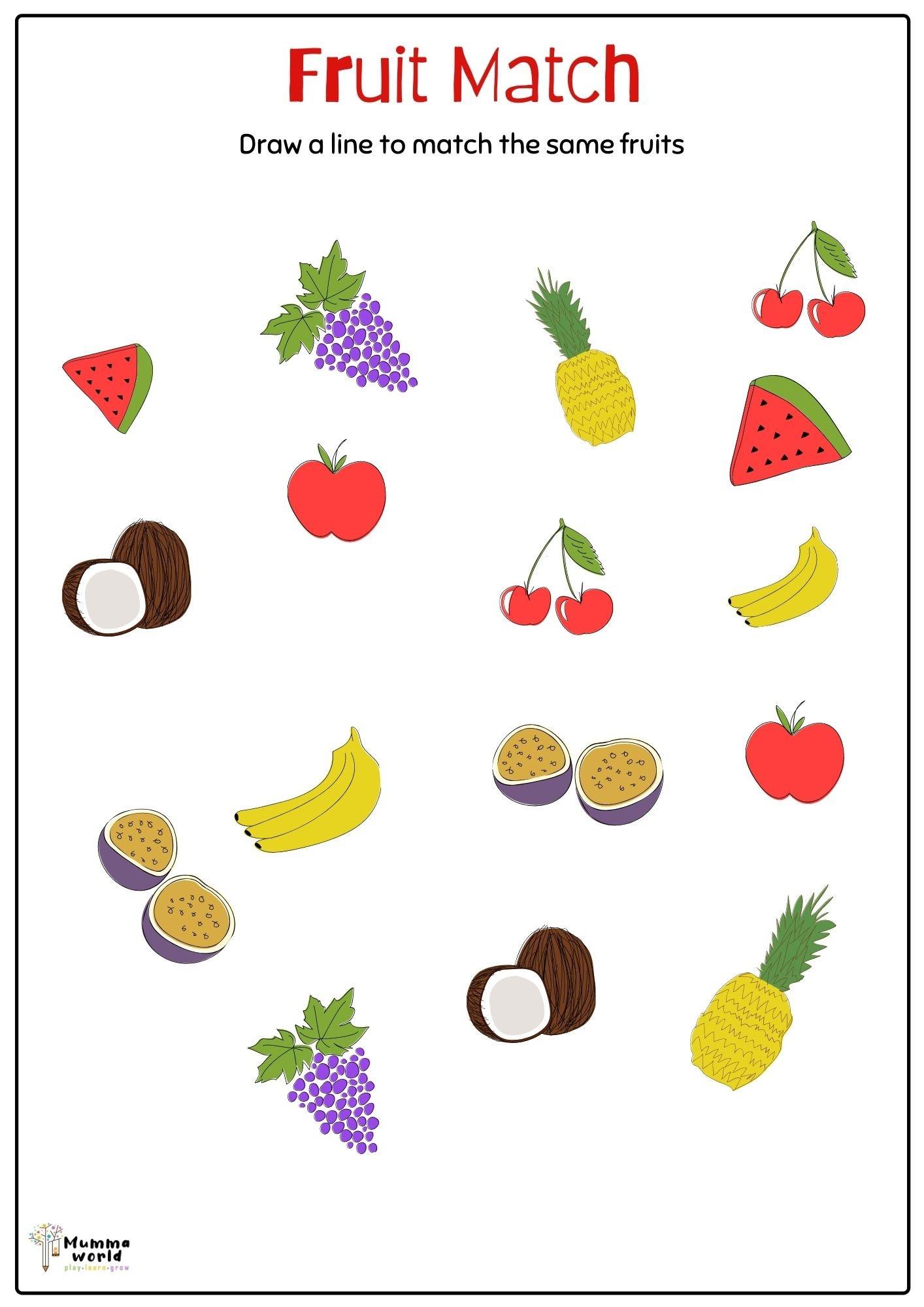 Match The Fruit Worksheet