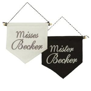 bestickte Wimpel – Hochzeit – Mr. & Mrs. Set