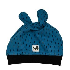 Knotenmütze – Striche – jeansblau