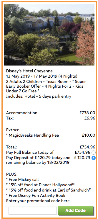 Disneyland Paris Cheyenne Deal