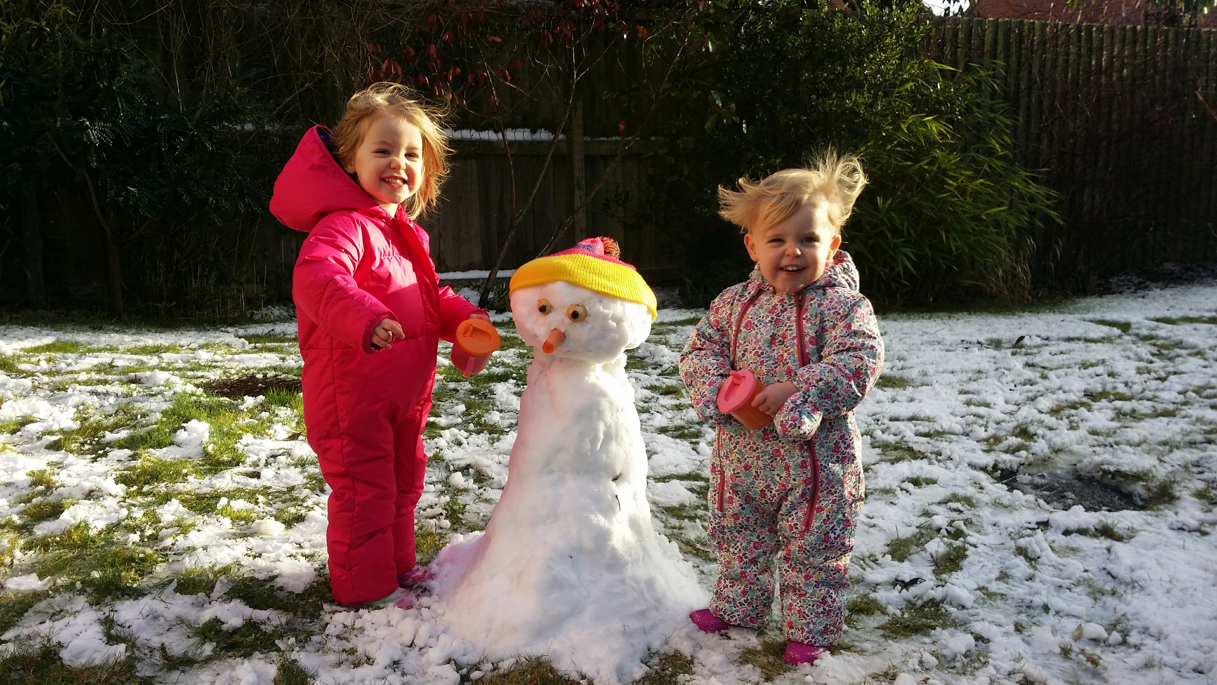 My first post...their first snowman
