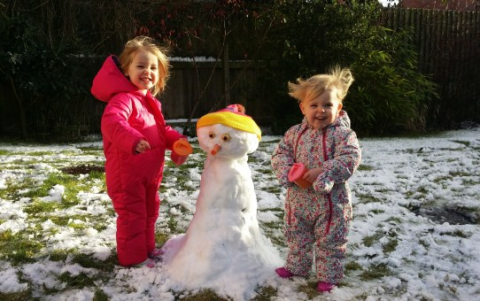 My first post…their first snowman