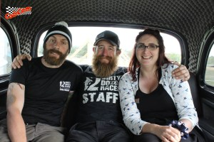 From left to right: My husband (Mr Mummybakesdairyfreedairyfree), Doug Spence (The Beard and co-creator of Dirty Dozen Races) and me (the mummy of mummybakesdairyfree) in CabCam.