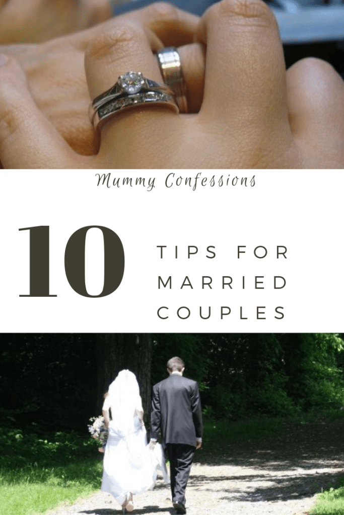 wedding rings and marriage tips, bride and groom walking on a road