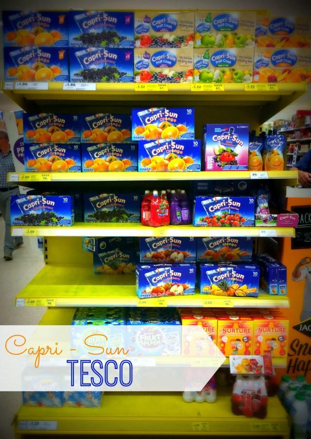 tesco shelf showing capri-sun
