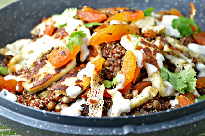 Warm Lentil & Grilled Halloumi Cheese Salad