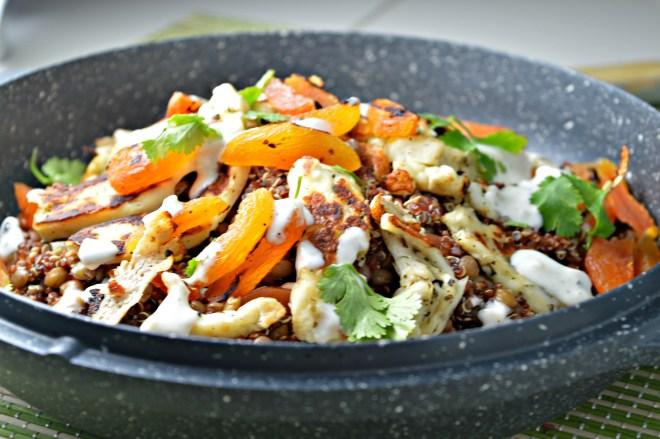 Warm Lentil & Grilled Halloumi Cheese Salad