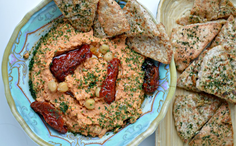 MM: Sun-Dried Tomato Hummus with Homemade Pita Chips