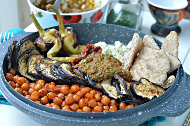 Harissa Roasted Chickpeas with Grilled Veggies