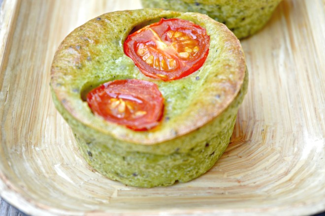 Cream Cheese & Cherry Tomato Spinach Muffins