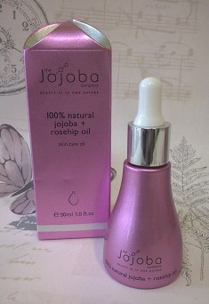jojoba and rosehip oil bottle