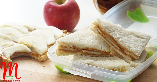 apple and peanut butter sandwich
