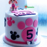 Pink and Vanilla Buttercream frosted Skye Paw Patrol Cake