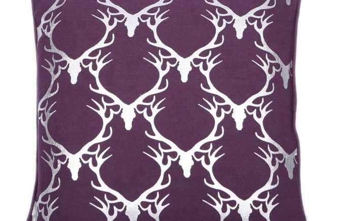 Metallic & Purple Stag Head Square Cushion