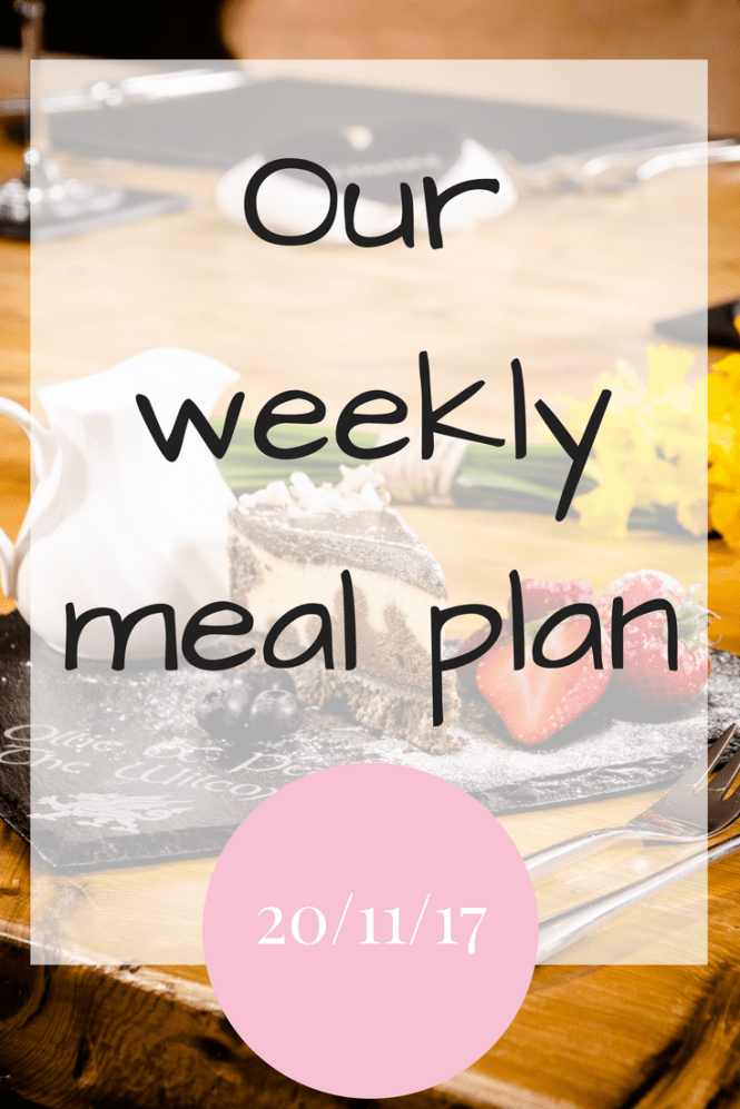 Weekly meal plan 20/11/17