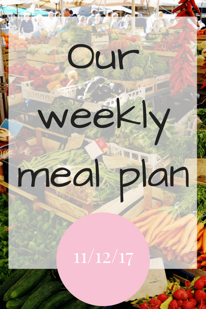 Our weekly meal plan 11 December 2017