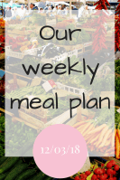Our weekly meal plan – 12/03/2018