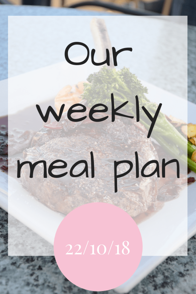 Our weekly meal plan 29th October 2018