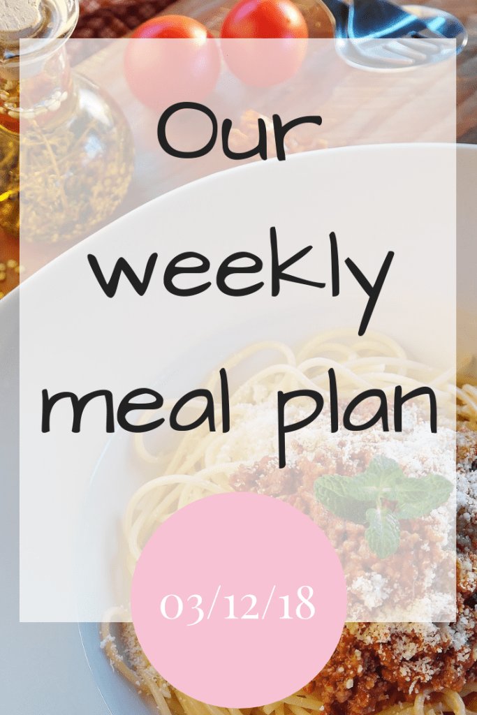 Our weekly meal plan - 3rd December 2018