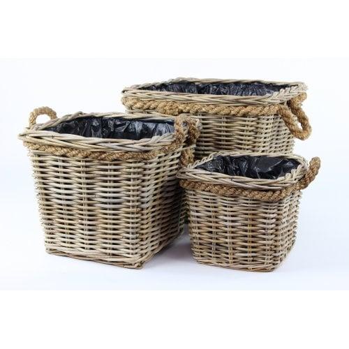 2 grey & buff rattan square wicker planter