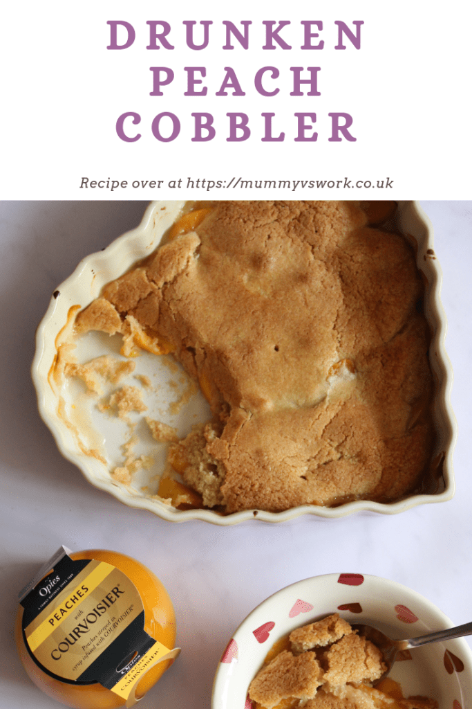 Drunken peach cobbler #Recipe #Pudding #Dessert