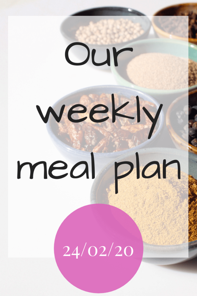 Our weekly meal plan - 21/02/2020