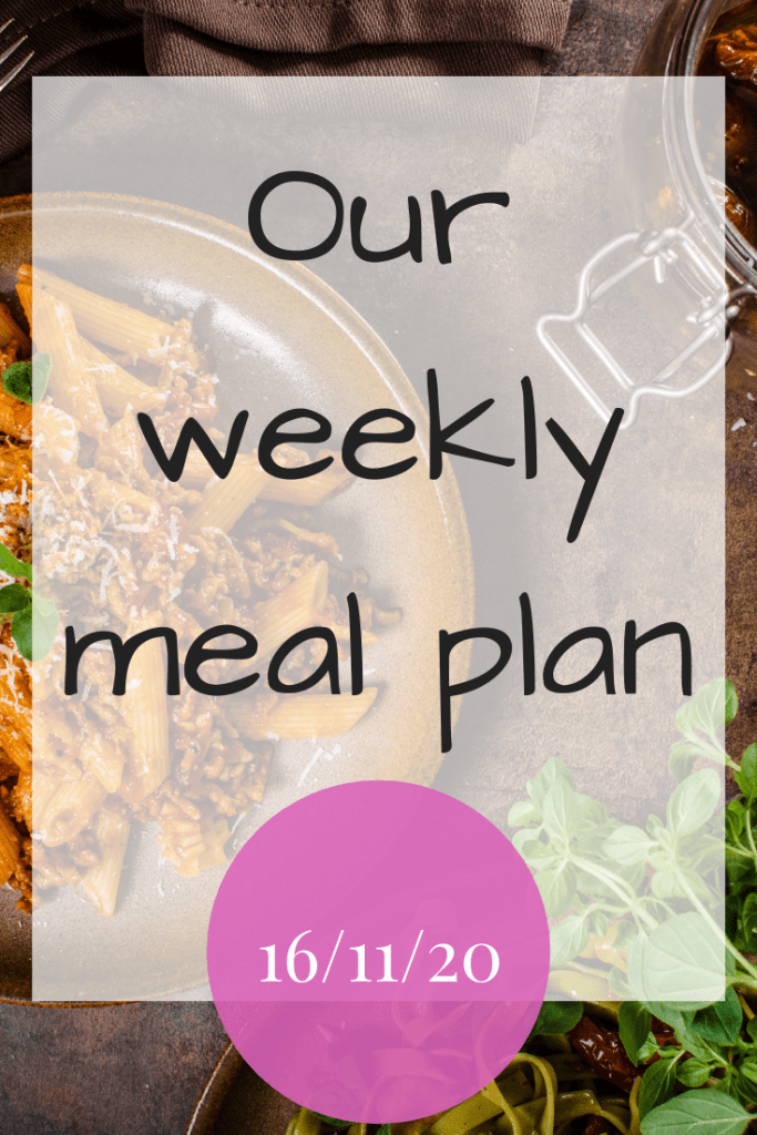 Weekly meal plan - 16/11/2020