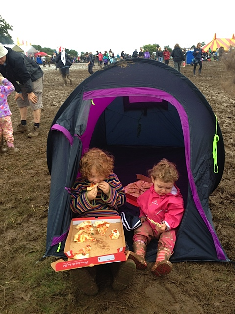 Pop Up Tent eating pizza